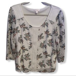 LC Lauren Conrad White Floral Blouse Sheer Sleeves